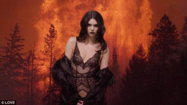 That's more like it: Kendall Jenner showcases her pert posterior and supermodel-slim figure in some sexy lace lingerie as she graces LOVE magazine's advent calendar for a second time this season
