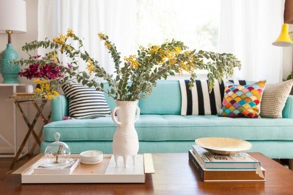 teal mid-century sofa