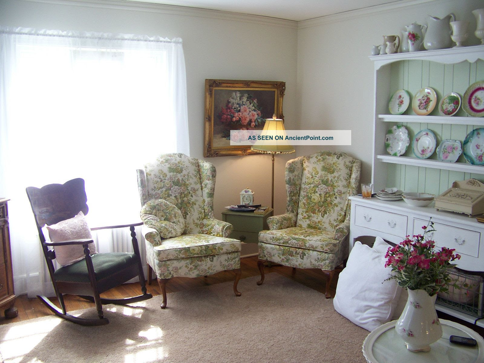 Vintage Wingback Chairs ~ Pair ~ Roses ~ Sweet Shabby Chic Style