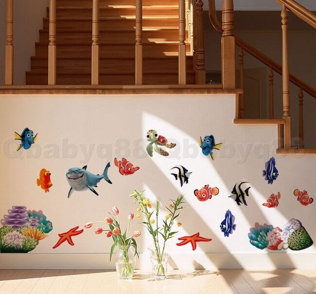 Finding Nemo Colorful fish Wall decal Removable stickers home decor kids nursery  eBay
