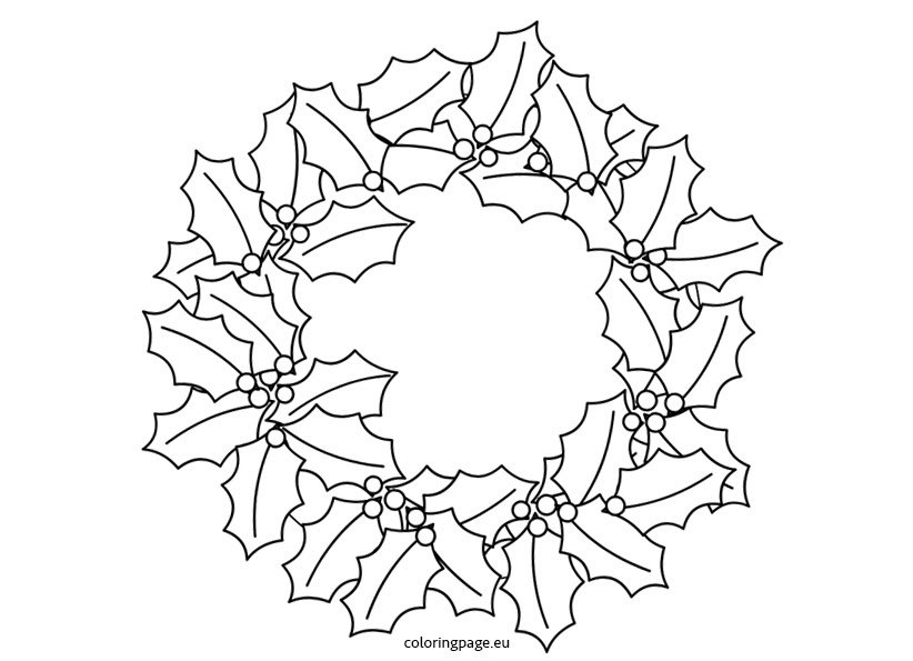 Holly Wreath - Coloring Page