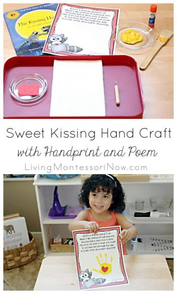 Sweet Kissing Hand Craft with Handprint and Poem