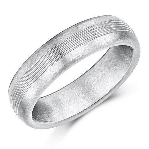 6mm Titanium Wedding Ring Grooved Matt Engagement Wedding