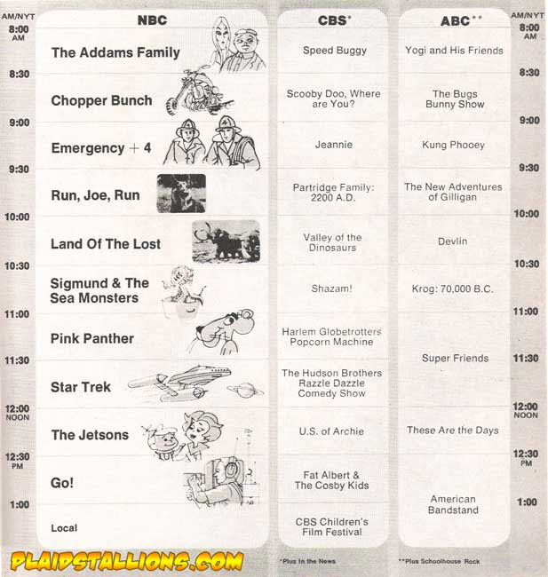 1974 saturday morning schedule