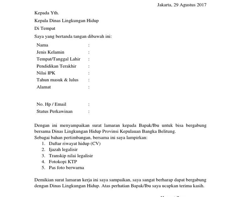 Contoh Surat Lamaran Kerja Untuk Dinas Lingkungan Hidup Berbagi Contoh Surat