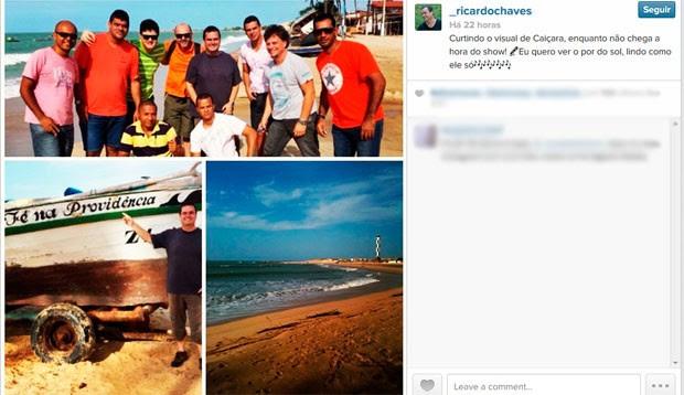 Pelo Instagram, cantor Ricardo Chaves anunciou expectativa para o show em Caiçara do Norte  (Foto: Reprodução/Instagram de Ricardo Chaves)