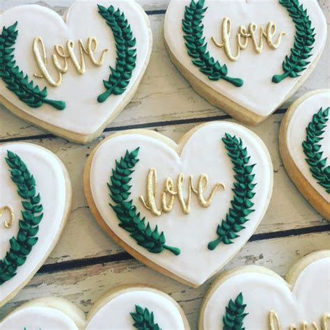 Chic Greenery Wedding Cookies   Hayley Cakes and