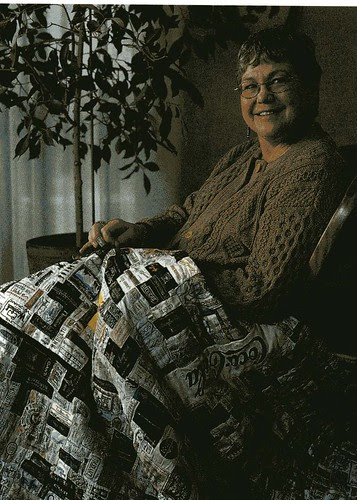 Quilt made of labels