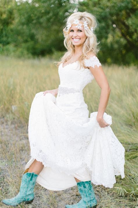 Simple country style wedding dresses with boots trends (8