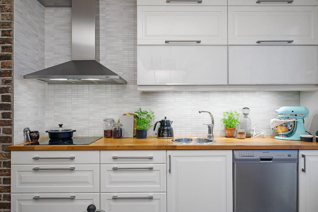 Scandinavian style kitchen design furniture of plain rigorous form