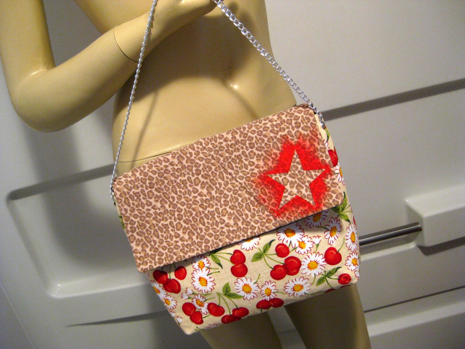 """Hand Painted Star on Upcycled Leopard Print and Cherry """"B"""" Shoulder Bag"""