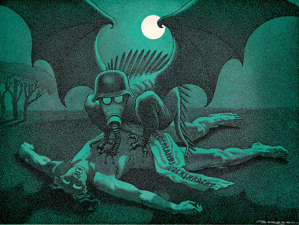 "L.J. Jordaan - The Vampire, from the series of political artworks titled ""NACHTMERRIE OVER NEDERLAND"" published in 1945."