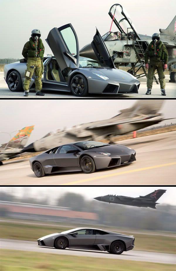 A Lamborghini Reventon goes up against a British Tornado fighter jet.