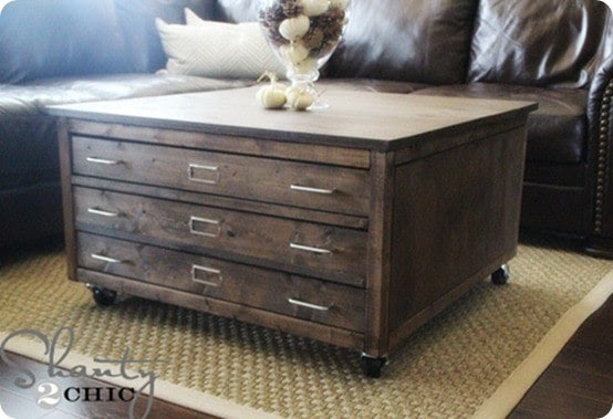 DIY Furniture ~ This DIY coffee table combines both form and function with a generous tabletop for decorating and drawers for hidden storage!