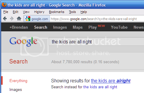 Google search for 'the kids are all right' returns results for 'the kids are alright' instead.