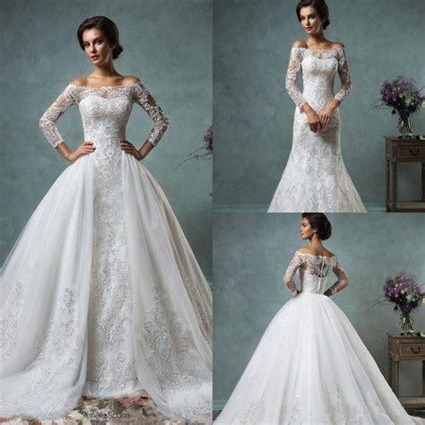 2016 Vintage Lace Wedding Dresses With Detachable Skirt