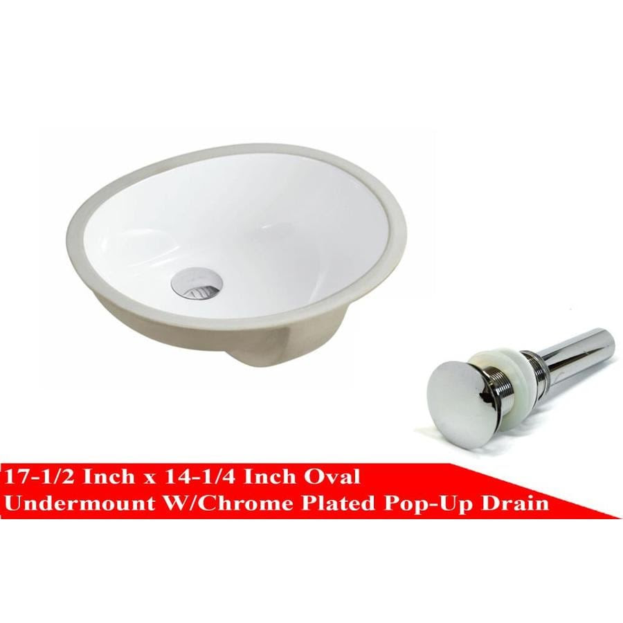 Kingsman Hardware White Ceramic Undermount Oval Bathroom Sink With Overflow Drain Drain Included 17 5 In X 14 25 In In The Bathroom Sinks Department At Lowes Com