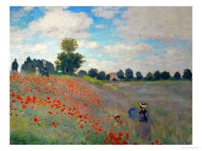 In 1870, during the Franco-Prussian War, Claude Monet took up residence in England and painted this famous landscape of an English field of poppies. One of the English artists who influenced Monet's work was Joseph William Turner.