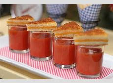 Miniature tomato soup shooters and grilled cheese triangles   Wedding food menu, Food, Bridal