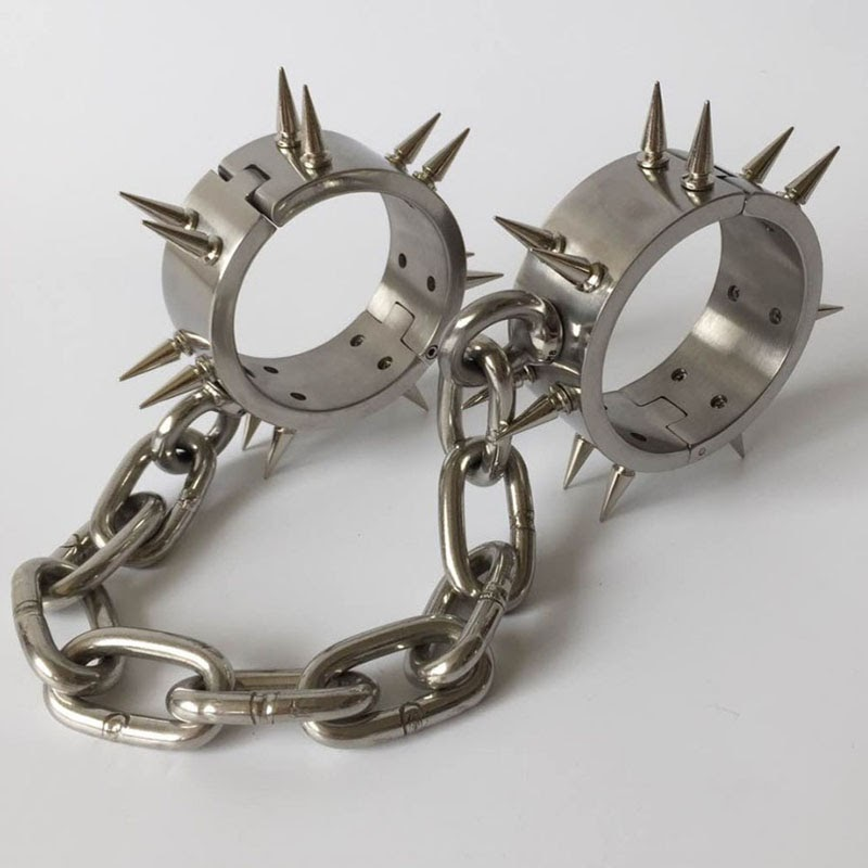 TOP !!  Stainless Steel Metal Chain Leg Irons Spiked Ankle Cuffs Adult Games BDSM Bondage Slave Restraints