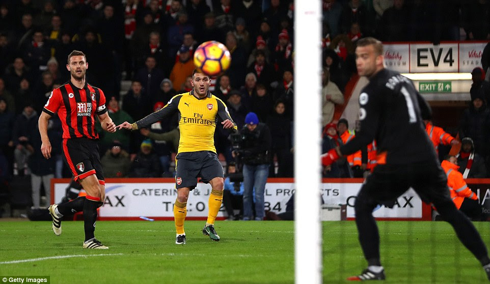 Perez pictured looking on as his shot sails into the corner of the goal to make it 3-2 to Bournemouth