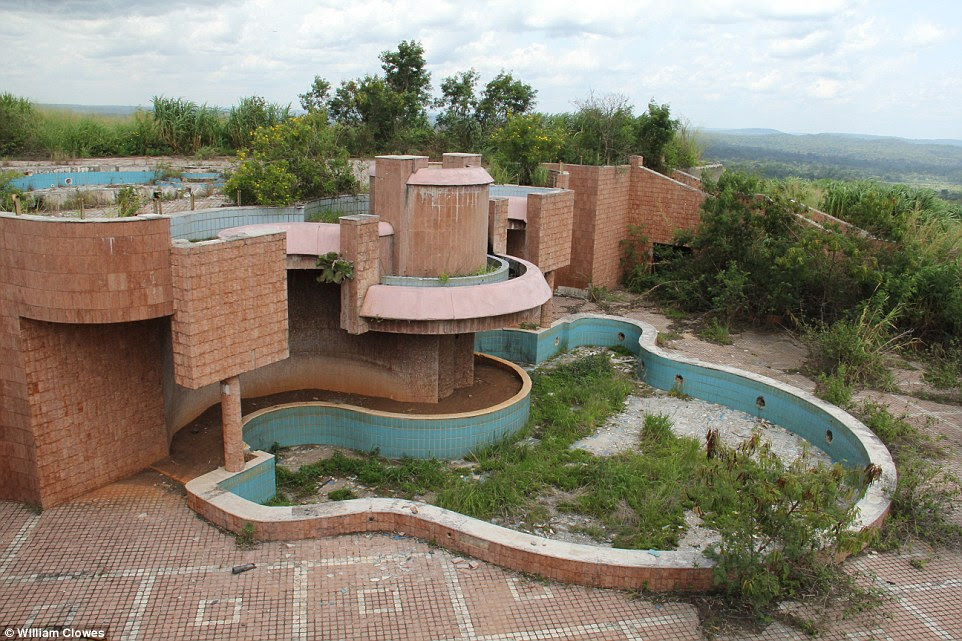 Glamorous: His palace built near his birth town ofGbadolite in the northern Democratic Republic of Congo is now abandoned, the majestic pool turned green by the plants growing from its dry floor. He also had a runway long enough for a Concorde built in the nearby town