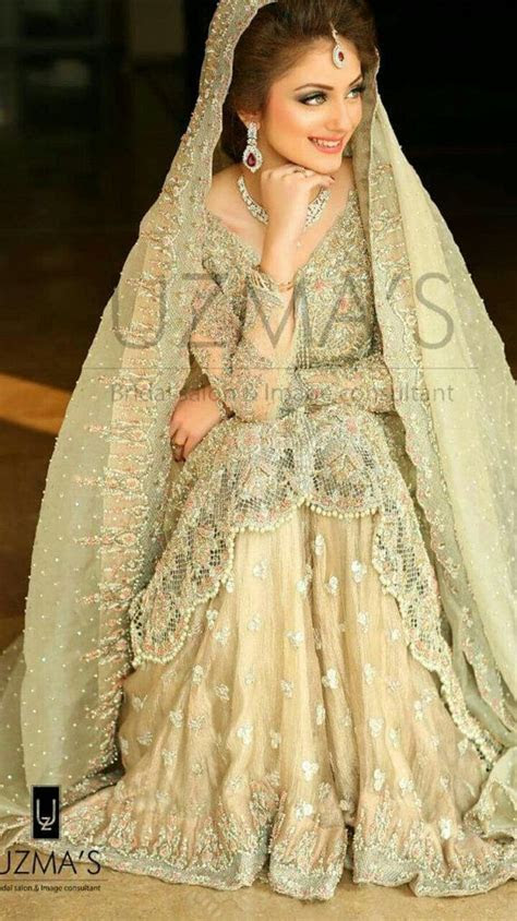 Pakistani Bridal Dress  Pastel Green and Pink Heavy