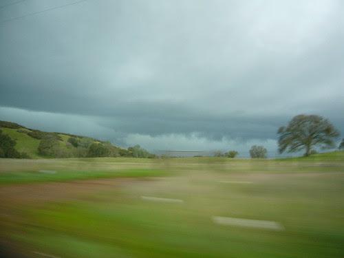 green hills and rain