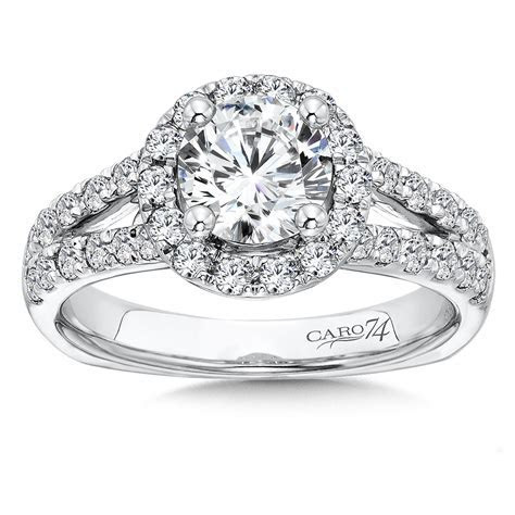 Caro74   Round Halo Engagement Ring with Split Shank and