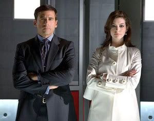 Steve Carell and Anne Hathaway in the movie remake of GET SMART.