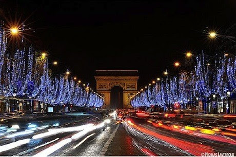 The Champs Elysées, in Paris, aglow with holiday lights
