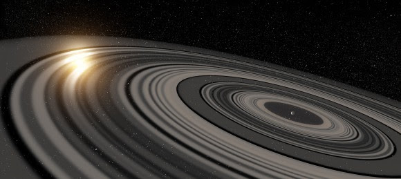 Illustration by artist Ron Miller of the gigantic ring system around J1407b. (© Ron Miller)