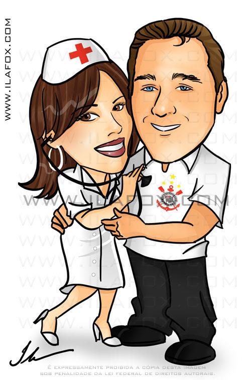 caricatura noivos colorida, corpo inteiro, noivinhos Joice e João, Enfermeira e Corinthiano, caricatura para casamento, by ila fox