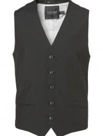 Topman Black 5 Button Waistcoat