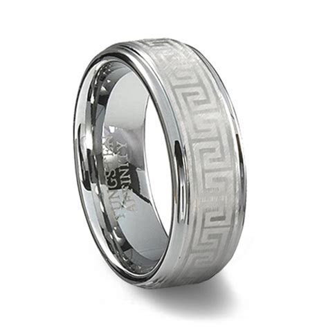 Tungsten Carbide Greek Key Ring   Laser Designed Mens Ring