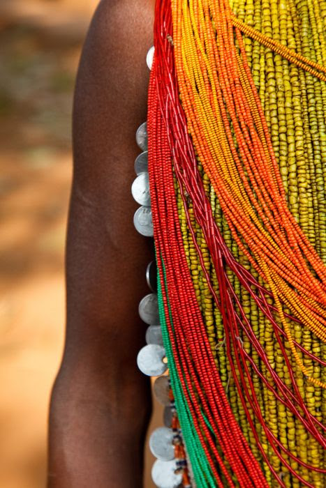 details from traditional dress of a tribal Bonda woman, Onkadelli. - Kimberley Coole