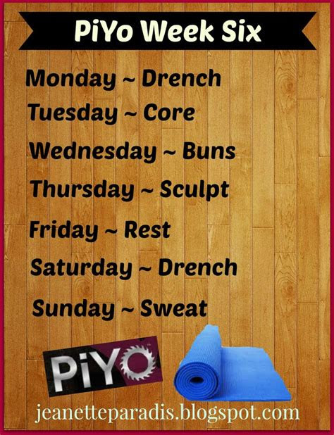 piyo week  schedule piyo pinterest results