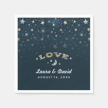Teal Gold & White Love Moon & Stars Wedding Napkin Standard Cocktail Napkin by juliea2010 at Zazzle