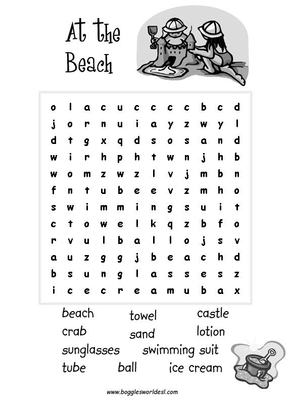 13 Cool Printable Summer Word Searches – Kitty Baby Love