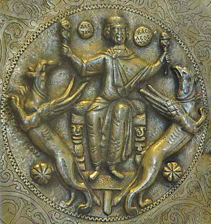 απεικόνιση του Αλέξανδρου να ταΐζει συκώτια τους γρύπες και πετάει στον ουρανό