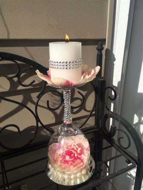 Wedding wine glass candle holder. Wedding ideas