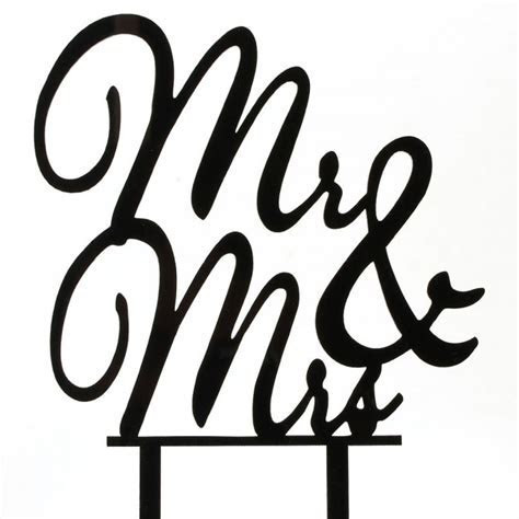 Black Mr & Mrs Script Bride & Groom Acrylic Wedding Day