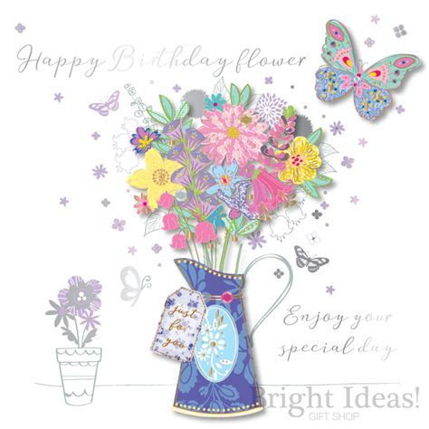 Happy Birthday Flower Floral Birthday Card by Ling Design