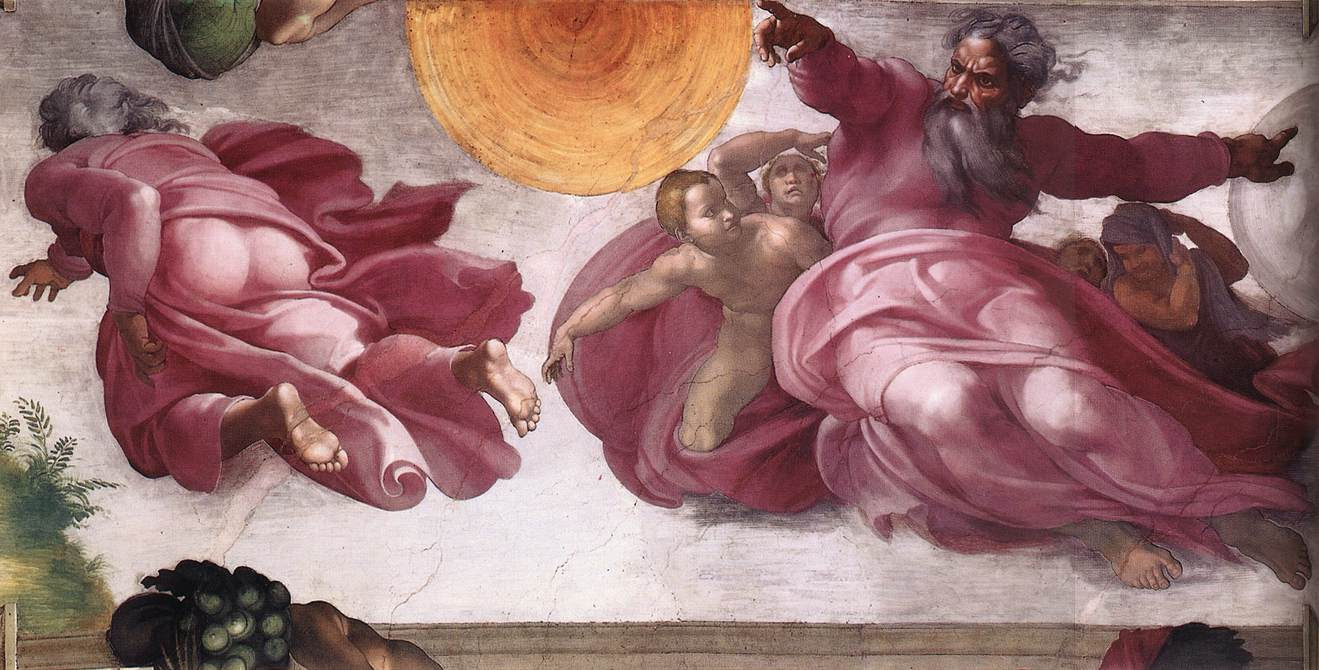 The Creation of the Sun, Moon, and Plants by Michelangelo