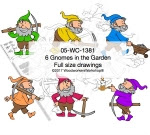 6 Gnomes in the Garden Yard Art Woodworking Pattern - fee plans from WoodworkersWorkshop® Online Store - gnomes,elf,gardens,yard art,painting wood crafts,scrollsawing patterns,drawings,plywood,plywoodworking plans,woodworkers projects,workshop blueprints