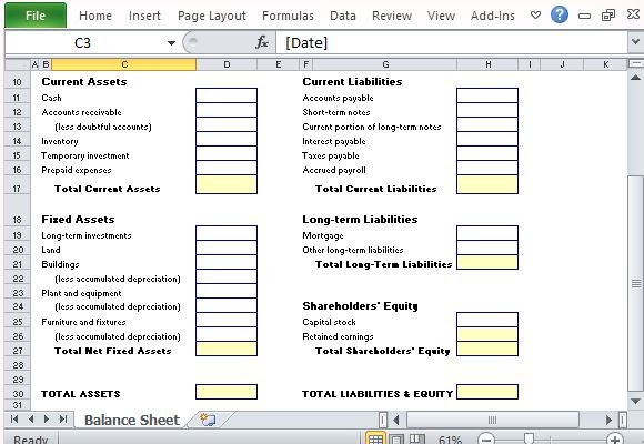 Display Your Various Business Assets and Liabilities