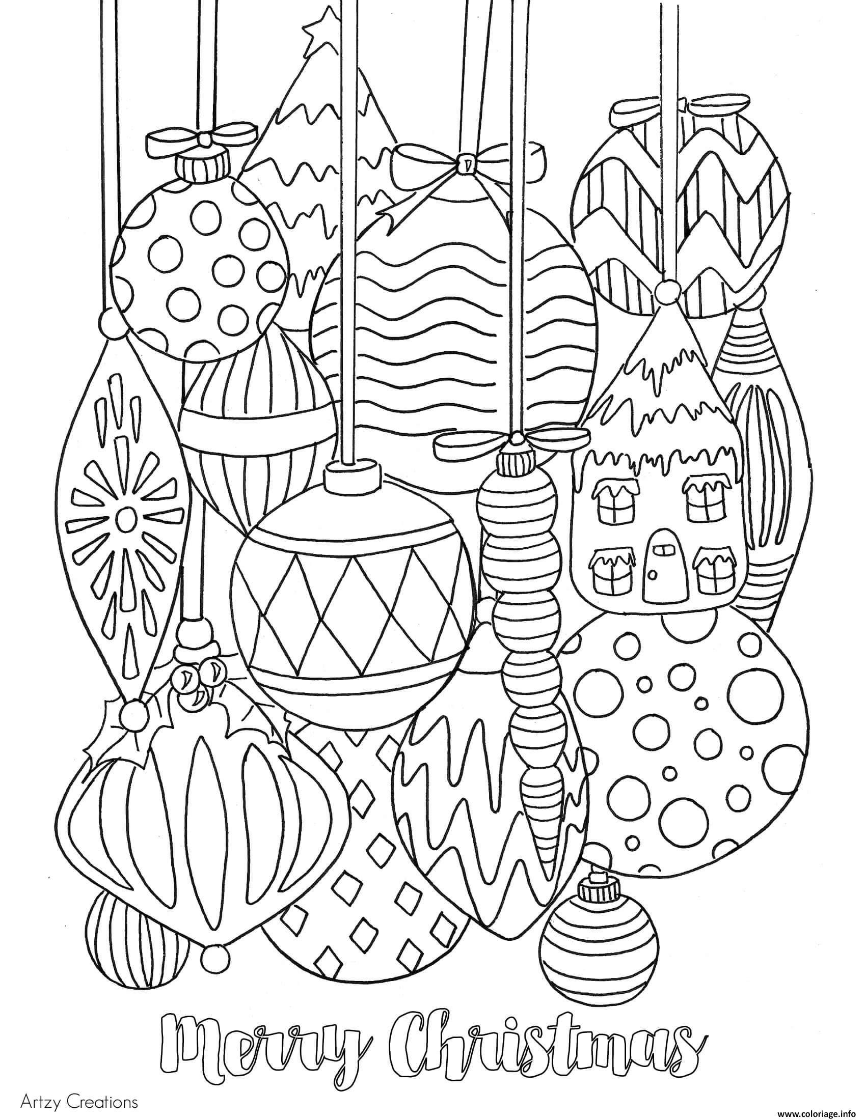 Dessin adulte boules de noel decoration Coloriage Gratuit  Imprimer