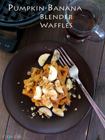 Vegan Pumpkin Banana Blender Waffles