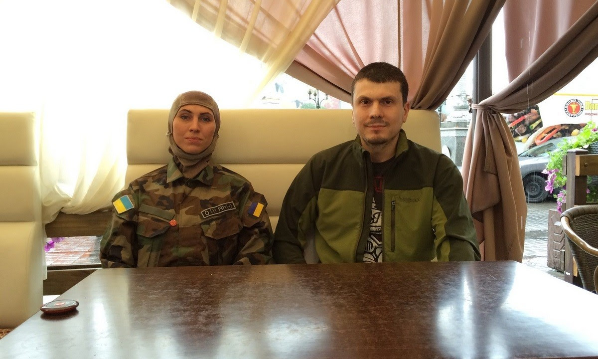Amina Okuyeva and Adam Osmayev of the Dzhokhar Dudayev battalion. Kyiv, 2015. Photograph: Shaun Walker for the Guardian