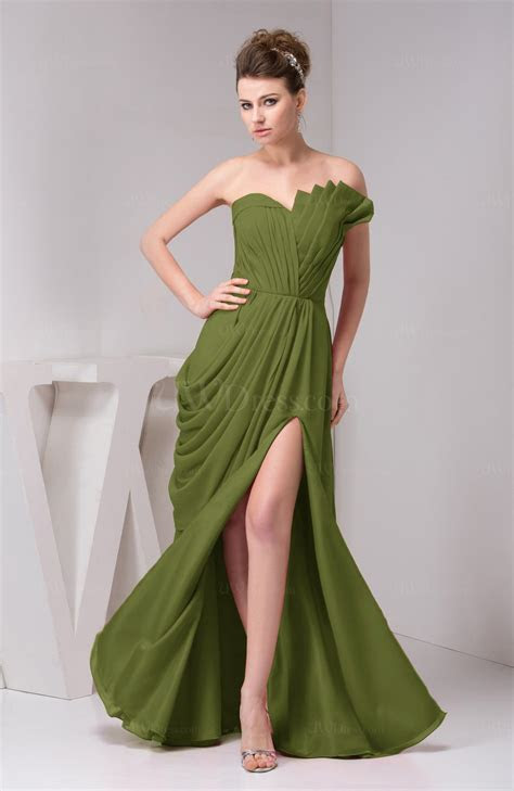 Olive Green Chiffon Bridesmaid Dress Unique Destination